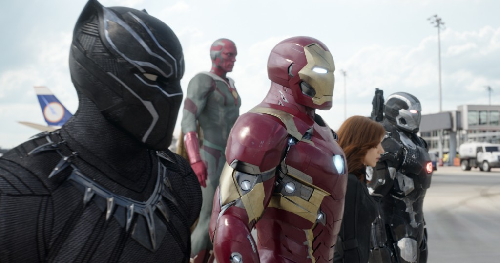 Marvel's Captain America: Civil War..L to R: Black Panther/T'Challa (Chadwick Boseman), Vision (Paul Bettany), Iron Man/Tony Stark (Robert Downey Jr.), Black Widow/Natasha Romanoff (Scarlett Johansson), and War Machine/James Rhodey (Don Cheadle)...Photo Credit: Film Frame..? Marvel 2016