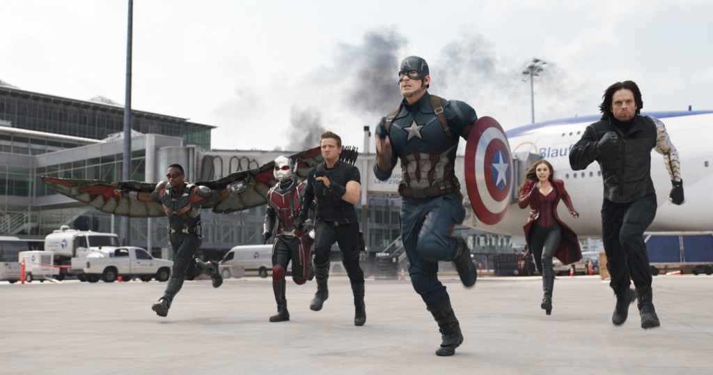 Marvel's Captain America: Civil War..L to R: Falcon/Sam Wilson (Anthony Mackie), Ant-Man/Scott Lang (Paul Rudd), Hawkeye/Clint Barton (Jeremy Renner), Captain America/Steve Rogers (Chris Evans), Scarlet Witch/Wanda Maximoff (Elizabeth Olsen), and Winter Soldier/Bucky Barnes (Sebastian Stan)..Photo Credit: Film Frame..© Marvel 2016